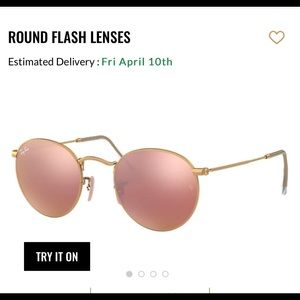 Rose Gold Raybans Round flash lenses